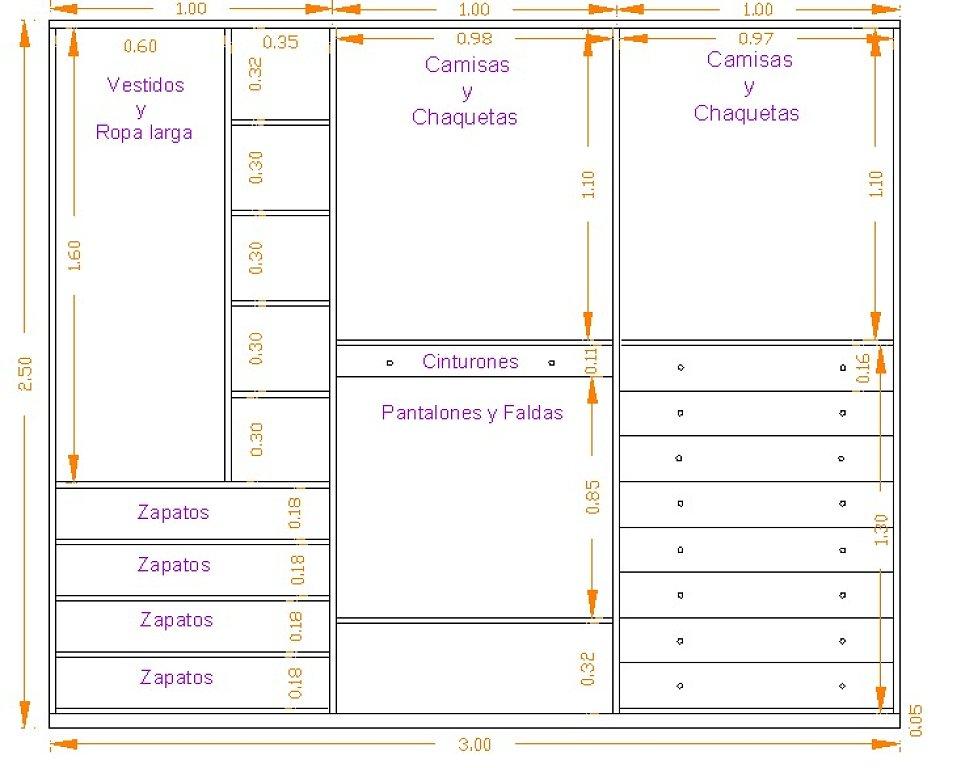 Elegir un armario byhome for Medidas de muebles en planta