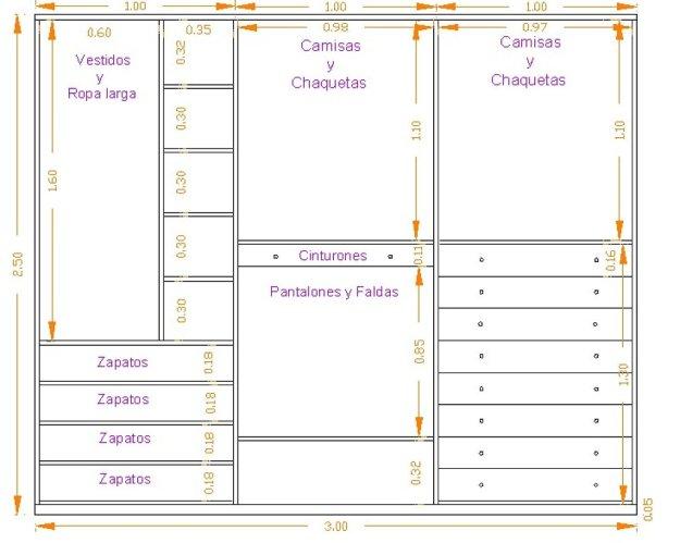 Medidas armario byhome for Distribucion de armarios empotrados por dentro