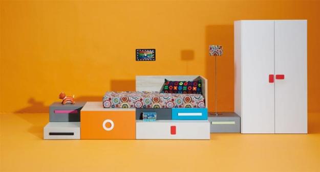 El sistema KUBOX puede conformar una cama sobre cajones para colcones de 70x140 cm o para colchones de 90x190cm