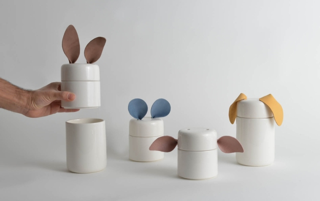 Familia de contenedores de cerámica de Limoceramics, animales encantadores